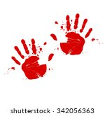 two hands print in blood vector | Shutterstock .eps vector #342056363