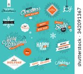 set of vintage christmas and... | Shutterstock .eps vector #342091367
