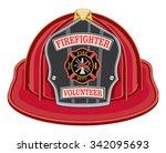 firefighter volunteer red... | Shutterstock .eps vector #342095693