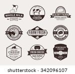 set of cheese logo templates.... | Shutterstock .eps vector #342096107