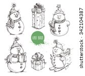 Sketch Style Snowman And...