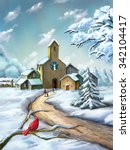 small village in a snowy... | Shutterstock . vector #342104417
