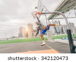 sportive man hanging from the... | Shutterstock . vector #342120473
