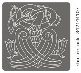 monochrome icon with celtic art ... | Shutterstock .eps vector #342144107