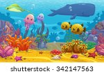 seamless underwater cartoon... | Shutterstock . vector #342147563