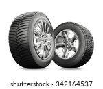 two wheels with new tires... | Shutterstock . vector #342164537
