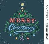 merry christmas retro poster...   Shutterstock .eps vector #342182777