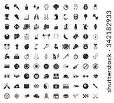 sport 100 icons set for web flat   Shutterstock .eps vector #342182933