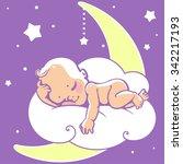 cute little baby sleeping on... | Shutterstock .eps vector #342217193