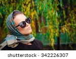 autumn woman wearing scarf and... | Shutterstock . vector #342226307