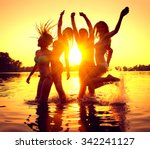 vacation. beach party. teenage... | Shutterstock . vector #342241127