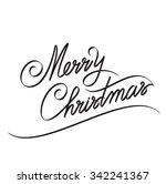 merry christmas hand lettering  ... | Shutterstock .eps vector #342241367