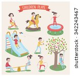 vector set of children playing... | Shutterstock .eps vector #342243467