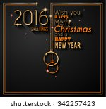 2016 happy new year and merry... | Shutterstock .eps vector #342257423