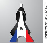 eiffel tower with flag of... | Shutterstock .eps vector #342264167