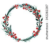 Hand Drawn Wreath With Red...
