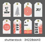 christmas gift tags set. | Shutterstock .eps vector #342286643