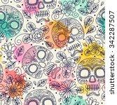 skull and flowers. seamless... | Shutterstock .eps vector #342287507