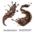 chocolate splashes set ... | Shutterstock . vector #342293297