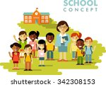 multicultural students group... | Shutterstock .eps vector #342308153