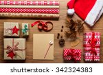 retro christmas  desk view from ... | Shutterstock . vector #342324383