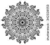 ethnic round ornament. hand... | Shutterstock .eps vector #342328553