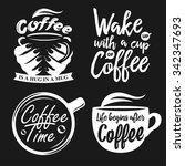 hand drawn typography coffee... | Shutterstock .eps vector #342347693