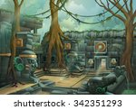 ruins  jungle vector... | Shutterstock .eps vector #342351293