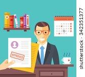 job interview. approved job... | Shutterstock .eps vector #342351377