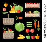 vegetable garden set. vector... | Shutterstock .eps vector #342357797