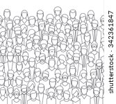 The crowd of abstract people, line style. Flat design, vector illustration. | Shutterstock vector #342361847