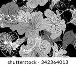 hibiscus seamless vector... | Shutterstock .eps vector #342364013