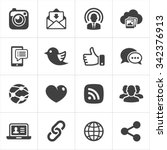 trendy social network icons set ...