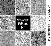 set of vector seamless black... | Shutterstock .eps vector #342382307