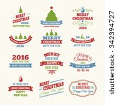 merry christmas vintage color... | Shutterstock .eps vector #342394727