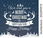 merry christmas greeting card...   Shutterstock .eps vector #342394973