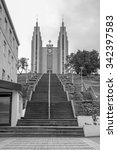 Small photo of Akureyrarkirkja - The Church of Akureyri - The Church of Akureyri is a prominent Lutheran church in Akureyri, northern Iceland, located in the centre of the city in black and white