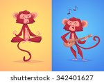two funny monkeys. yoga in the... | Shutterstock .eps vector #342401627