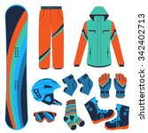 snowboard equipment kit clothes ... | Shutterstock .eps vector #342402713