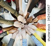 group of diverse hands together ... | Shutterstock . vector #342415547