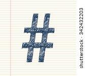 hash pound symbol sketch on... | Shutterstock .eps vector #342432203
