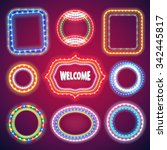 neon lights banners set for... | Shutterstock .eps vector #342445817