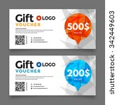 gift voucher template  set of... | Shutterstock .eps vector #342449603