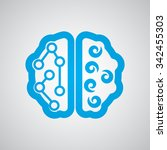 flat blue brain icon  | Shutterstock . vector #342455303