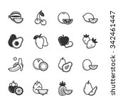 set of fruits and vegetables... | Shutterstock .eps vector #342461447