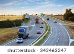highway traffic in sunset with... | Shutterstock . vector #342463247