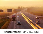 highway traffic at sunset. | Shutterstock . vector #342463433