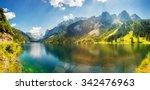 fantastic azure alpine lake... | Shutterstock . vector #342476963
