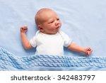 newborn baby boy in bed. new... | Shutterstock . vector #342483797
