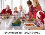 extended family group preparing ... | Shutterstock . vector #342484967